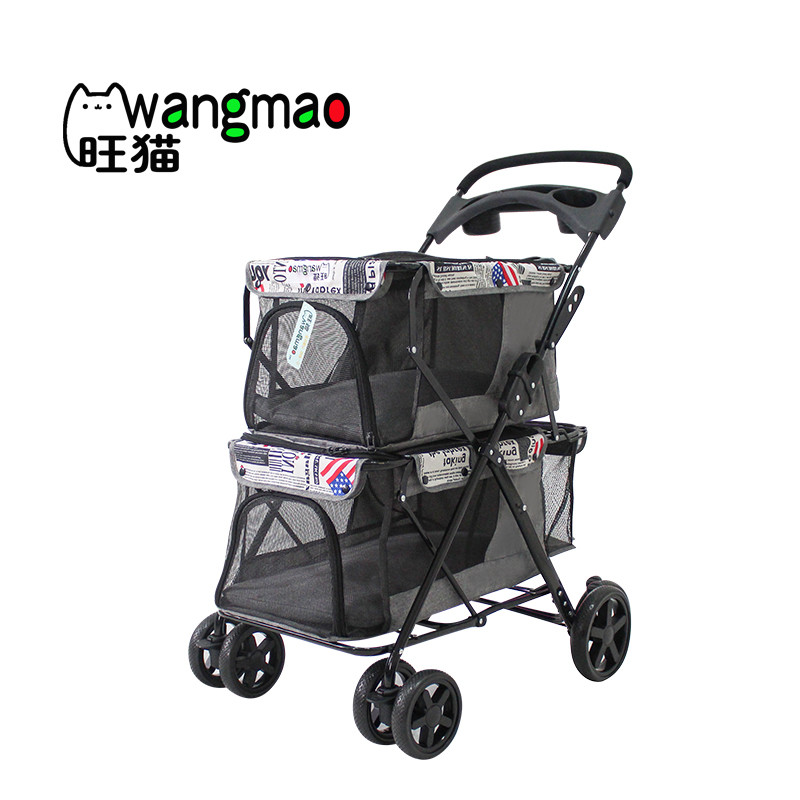 Twin double pet stroller with 2 pet carrier for 2 dogs