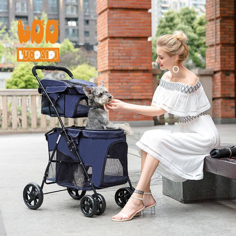 Foldable dog carriage double deck pet stroller BL11